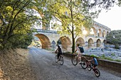 France, Gard, Vers Pont du Gard, the Pont du Gard listed as World Heritage by UNESCO, Big Site of France, Roman aqueduct from the 1st century which steps over the Gardon