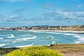 France, Pas-de-Calais, Opale Coast, Slack Dunes beach between Ambleteuse and Wimereux seen from Pointe aux Oies, Ambleteuse and its Vauban fort in the background