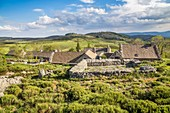 France, Lozere, Les Causses et les Cevennes, cultural landscape of the Mediterranean agro pastoralism, listed as World Heritage by UNESCO, National park of the Cevennes, listed as Reserve Biosphere by UNESCO, hamlet of the Hospital, the house in carved stone