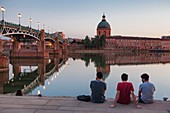 France, Haute Garonne , Toulouse, banks of the Garonne, Saint Pierre bridge, Saint Joseph de la Grave hospital