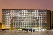 France, Paris, Institut du Monde Arabe (IMA), designed by architects Jean Nouvel and Architecture-Studio, white Night 2017