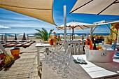 France, Herault, Sete, Beach of Lido, beach restaurant La Ola