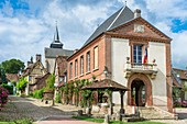 France, Oise, Gerberoy, village of Picard Pays de Bray labeled Most Beautiful Villages of France, 18th century covered market and town hall in Henri Le Sidaner street