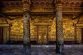 Facade of Wat Mai temple in Luang Prabang, Laos, Asia