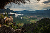 View of karst landscape from Vang Vieng, Laos, Asia