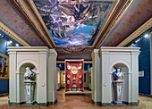 France, Paris, area listed as World Heritage by UNESCO, Louvre museum, decorative arts department, former Council State room with a ceiling painted in 1827. Ceramics of the XVIIth century including two allegorical sculptures of winter (on the left) and fall by Nicolas Fouquay circa 1730.