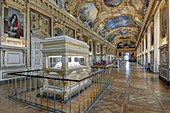 France, Paris, Louvre museum, decorative arts department, Apollo gallery, built from 1661 by architect Louis Le Vau and designer Charles Le Brun and completed in 1861