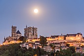 France, Aisne, Laon, the Upper town, Notre-Dame de Laon cathedral, Gothic architecture, by full moon