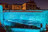 France, South Corsica, Bonifacio, the ramparts of the citadel floodlit