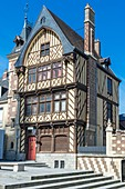 France, Somme, Amiens, Notre-Dame square, house of the pilgrim, reconstruction of a former place where pilgrims were lodged, today houses cultural associations