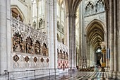 France, Somme, Amiens, Notre-Dame cathedral, jewel of the Gothic art, listed as World Heritage by UNESCO, the southern end of the choir and its tombs