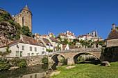 France, Cote d'Or, Semur en Auxois, medieval town, the Armançon promenade