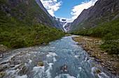 Blick auf den Kjenndalsbreen, Sogn og Fjordane, Norwegen, Europa