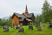 Rollag Stave Church in Numedal, Rollag, Buskerud, Norway, Europe
