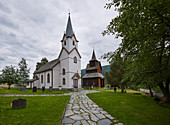 Torpo Stave Church and New Church from 1880 in Hallingdal, Al municipality, Buskerud, Norway, Europe