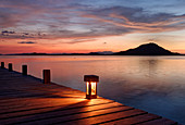 Jetty with lantern in the evening with a view of the Togean Islands, Sulawesi Island, Indonesia, Southeast Asia, Asia