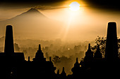 East of Borobudur is the active volcano Merapi, Java island, Indonesia, Southeast Asia, Asia