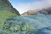 Sulfur springs at the crater lake of Gunung Ijen in the east of Java, Indonesia, Southeast Asia, Asia