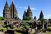 Hindu temple of Prambanan near Yogyakarta, Java, Indonesia, Asia, partially destroyed by volcanic eruptions and earthquakes
