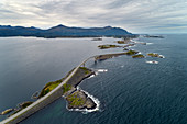 Atlantic Road, Atlantic Ocean, road, bridges, aerial view, coast, Vevang, Norway, Europe