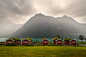 Rorbuer, huts, camping, mountains, lake, fjord, Oldevatnet, Norway, Europe