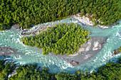 Insel, Fluss, Fjord, Oppstrynsvatnet, Luftaufnahme, Fjordnorwegen, Norwegen, Europa\n