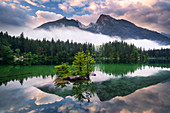 Sunrise, Hintersee, mountain lake, Alps, Ramsau, Berchtesgaden, Bavaria, Germany, Europe