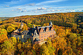 Rammelburg, aerial view, castle, autumn, forest, Harz, Saxony-Anhalt, Germany, Europe