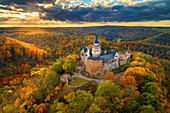 Falkenstein, Luftaufnahme, Burg, Herbst, Wald, Harz, Sachsen-Anhalt, Deutschland, Europa\n