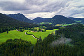 Aerial view, morning, Alm, Alps, Ramsau, Berchtesgaden, Bavaria, Germany, Europe
