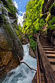Waterfalls, river, gorge, canyon, Wimbachklamm, Berchtesgaden, Bavaria, Germany, Europe