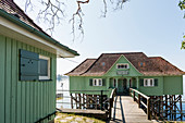 Aeschacher Bad, bath house, historic pile building, Lindau, Lake Constance, Bavaria, Germany