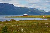 Hurtigruten - ship in Sortlandsundet near Maurnes, Hinnoeya, Lofoten, Nordland, Norway, Europe