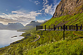 View from Skaland - viewpoint on the Bergsfjorden, Senja island, Troms, Norway, Europe