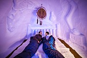 France, Savoie, Tarentaise valley, Vanoise massif, Arcs 2000 ski resort, a night in the trapper's bedroom, in the igloo village sculpture gallery, during the winter season 2017-2018