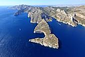 France, Bouches du Rhone, Calanques National Park, Marseille, Calanque de Morgiou, Cap Morgiou, Calanque de la Triperie, Calanque of Sormiou in the background