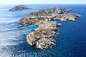 France, Bouches du Rhone, Calanques National Park, Marseille, Frioul Islands archipelago, Ratonneau Island, Cap de Croix, Pomegues island in the background