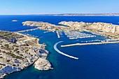 France, Bouches du Rhone, Calanques National Park, Marseille, Frioul Islands archipelago, Ratonneau island, Pomegues island, Pointe d'Ouriou (aerial view)