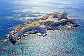 France, Bouches du Rhone, National Park of the Calanques, Marseille, Archipelago of the Frioul Islands, Chateau d'If, classified Historic Monument (aerial view)