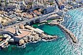 France, Bouches du Rhone, Marseille, Endoume district, Corniche JF Kennedy, Porte de l'Orient, war memorial of the Army of the Orient, Anse du Vallon des Auffes