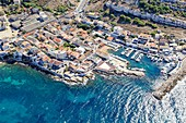 France, Bouches du Rhone, Marseille, Montredon district, port of La Madrague (aerial view)