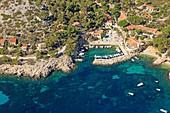 France, Bouches du Rhone, Calanques National Park, Marseille, Calanque de Sormiou (aerial view)