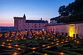 France, Indre et Loire, Loire Valley listed as World Heritage by UNESCO, castle and gardens of Villandry, built in XVI century, in Renaissance style, Night of a Thousand fire