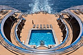 France, French Polynesia, Society Islands, Tahiti Island, Papeete, Cruise aboard the Aranui 5, aft deck and swimming pool