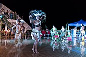 France, French Polynesia, Marquesas archipelago, Aranui 5 cruise, Polynesian evening around the pool, Marquesan dance
