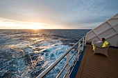 France, French Polynesia, cruise aboard the Aranui 5, sunset over the Pacific Ocean