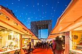 France, Hauts de Seine, La Defense, the Christmas market and the Grande Arche