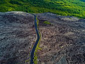 France, Reunion island, Reunion National Park listed as World Heritage by UNESCO, Piton de la Fournaise volcano, 2007 lava flow (aerial view)