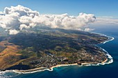 France, Reunion island, aerial view of the west coast of the island, Boucan Canot beach and Saint Gilles (aerial view)