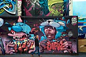 France, Bouches du Rhone, Marseille, Panier district, rue du Petit Puits, graff from the graffiti artist Pierre aka alias Gamo